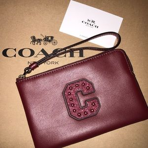 Coach deep red soft leather glitter C wristlet NWT